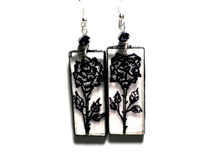#drawing #earrings #handmade #black #rose #Plexi