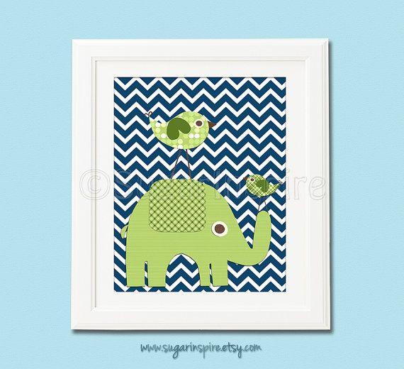 green and navy nursery art Print 8x10 Kids Room by SugarInspire, $14.95