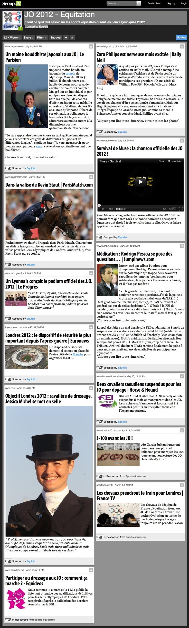 """Revue de presse des JO sur Scoopit ! : JO 2012 - Equitation"""" Tout ce qu'il faut savoir sur les sports équestres durant les Jeux Olympiques 2012"""" Curated by Equidia"""