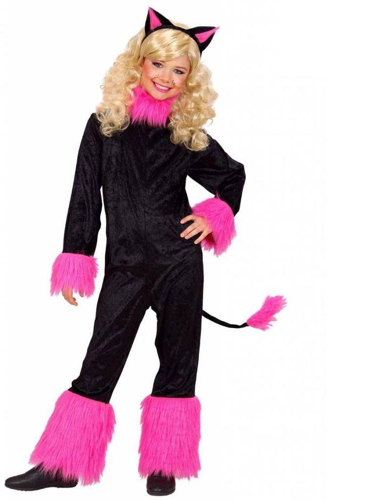 Zwart met roze katjes pakken voor meisjes. Deze prachtige feestkleding uit de dieren feest-collectie is echt super voor party's en een puik verklede carnaval.