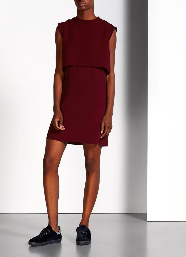 Sandro Raperry gestructureerde jurk met overlay • de Bijenkorf