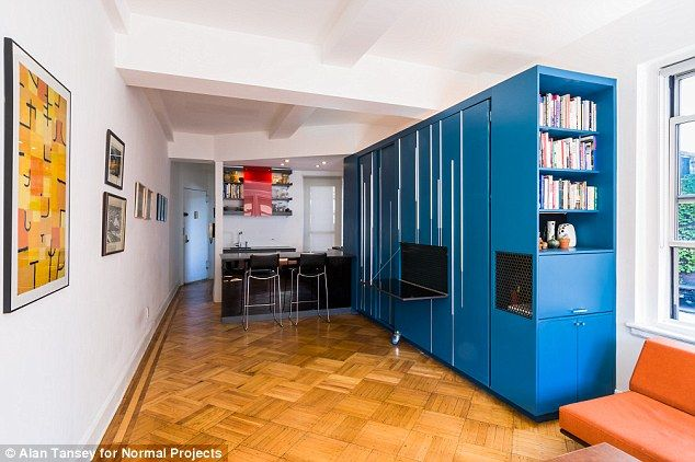 Downsized: New York City teacher Eric Schneider bought a micro-apartment on the Upper West Side in 2005 for $235,000