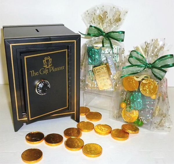 Miniature coin safe makes a #unique and fun gift! Filled with delicious themed #chocolate money. Feel SAFE with The Gift Planner.