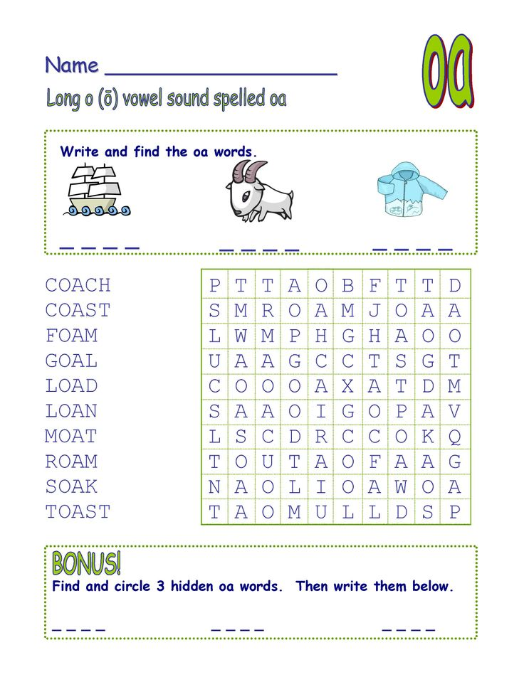 Digraph Long Vowel O Spelled Oa Ow Word Search Fun