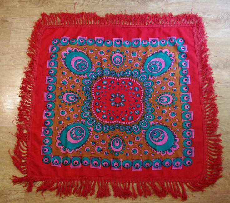 Cute Polish wool folk shawl fringes Red Green Pink Brown Ukrainian shawl Russian Shawl Folk Scarf Tassels Traditional ornaments abstract 70s by VintagePolkaShop on Etsy
