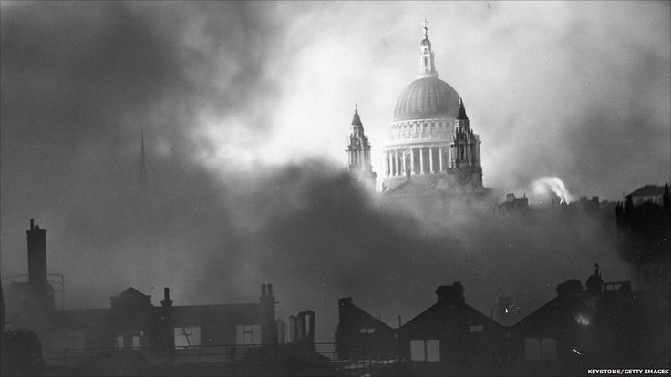 St Paul's cathedral, standing tall as London burns after the worst single night's bombing of the Blitz