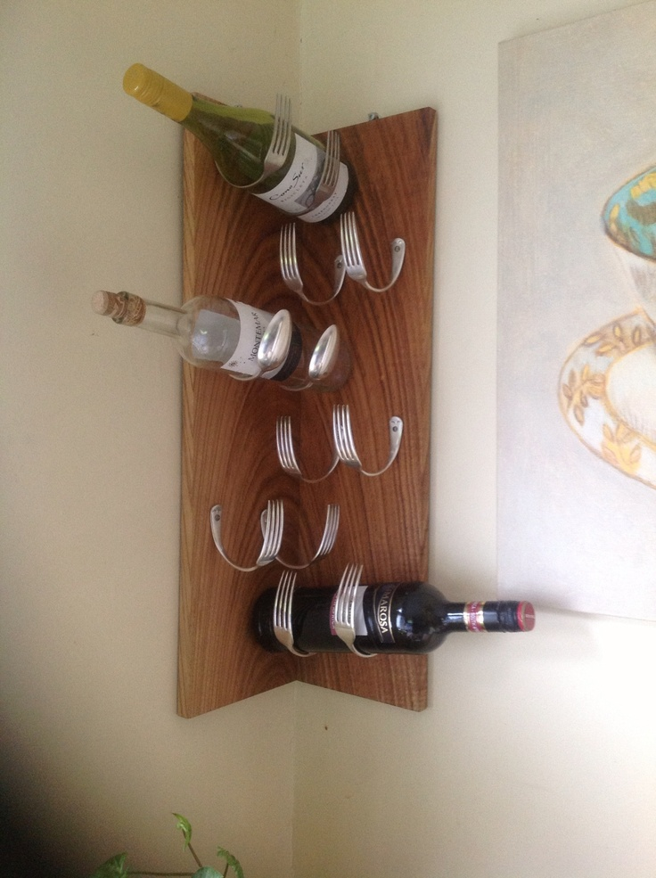 wine rack from forks and spoons