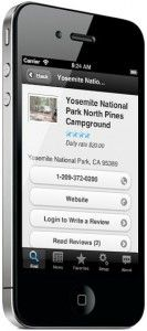 iPhone showing camground search results on Camp Finder app. It puts 17,000 campgrounds and RV Parks in your pocket. Find a spot when you're on the road via search or GPS, view photos, amenities, reviews and more… everything you need to find a place on the road!
