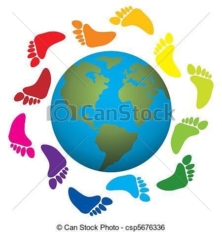 voet, Afdrukken, ongeveer, Aarde - csp5676336