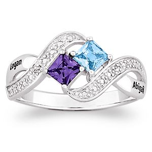 would love to have this... Sterling Silver Couple's Princess-cut Birthstone Ring with Diamond