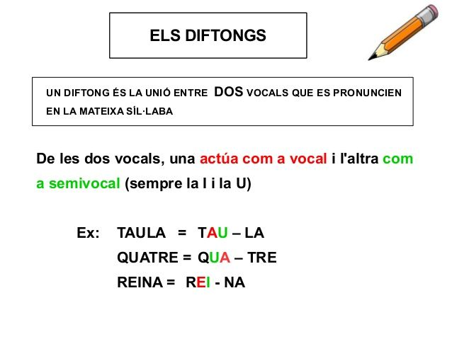 UN DIFTONG ÉS LA UNIÓ ENTRE DOS VOCALS QUE ES PRONUNCIEN EN LA MATEIXA SÍL·LABA LA SÍL·LABAELS DIFTONGS De les dos vocals,...