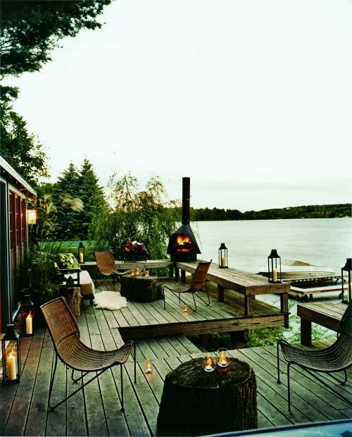 Lake House: Decks, Outdoor Living, Lakes Houses, Patio, Outdoorspaces, Thom Filicia, Outdoor Fireplaces, Outdoor Spaces, Porches