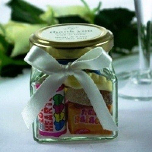 Wedding Favour Sweet Jars - label on top with names & wedding date