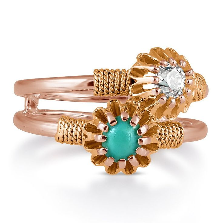 The Batley Ring c1890's - 18k Rose Gold - This captivating and unique Victorian ring boasts an old mine cut diamond and a round turquoise cabochon in a distinctive rose gold and double banded setting. Additional details in the shoulders completes this masterpiece