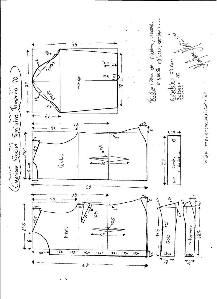 Esquema de modelagem de Camisa Social Feminina tamanho 40.