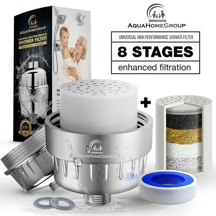AquaHomeGroup Universal 8-Stage Water Shower Filter (Chrome) + Extra Cartridge + Teflon Tape + 5 Shower Cap - High-Pressure Output, Handheld or Combo Head to Reduce Chlorine & Water Impurities