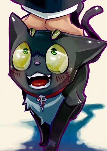 """Kuro la mascota, no mas bien dicho el """"pequeño"""" amigo de rin."""