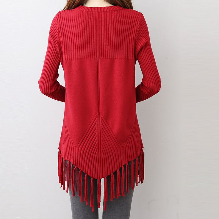 KYMAKUTU Rivet Jumper with Tassel Solid Sueter Mujer 2017 Autumn Winter Sweaters for Women O Neck. Click visit to buy
