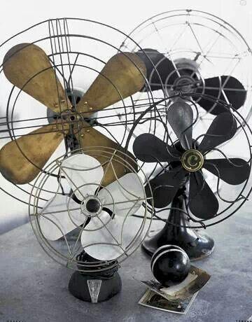 Vintage industrial table fans.