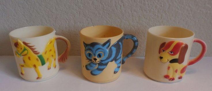 "3-Vintage Plastic Cup Hong Kong 1981 Spencer Gifts Cat, Horse & Dog 3"" high #spencergifts"
