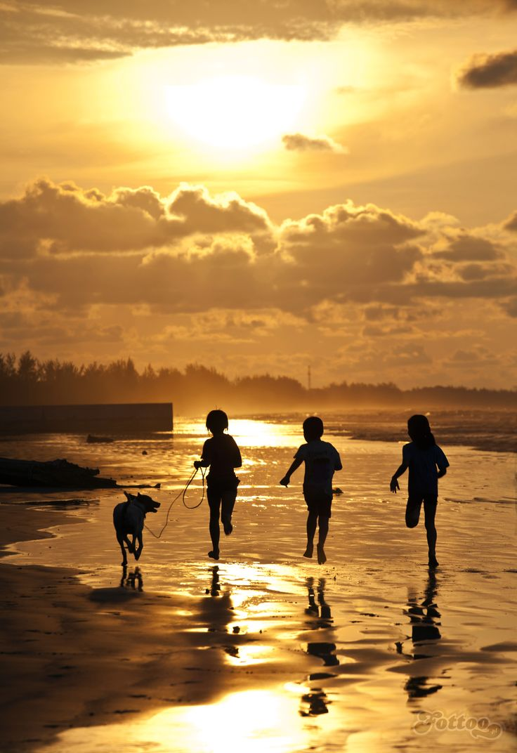 A sense of freedom. Children running on a sunset beach, Borneo.
