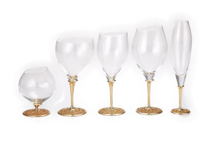 Arabesque 18 K Gold plated and Titanium Champagne flute, Red wine glass, White wine glass, White wine glass, Water glass, Brandy cognac glass