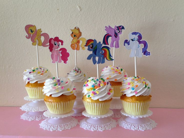 My little pony cupcake toppers by NoNakedCupcakes on Etsy https://www.etsy.com/listing/174636822/my-little-pony-cupcake-toppers