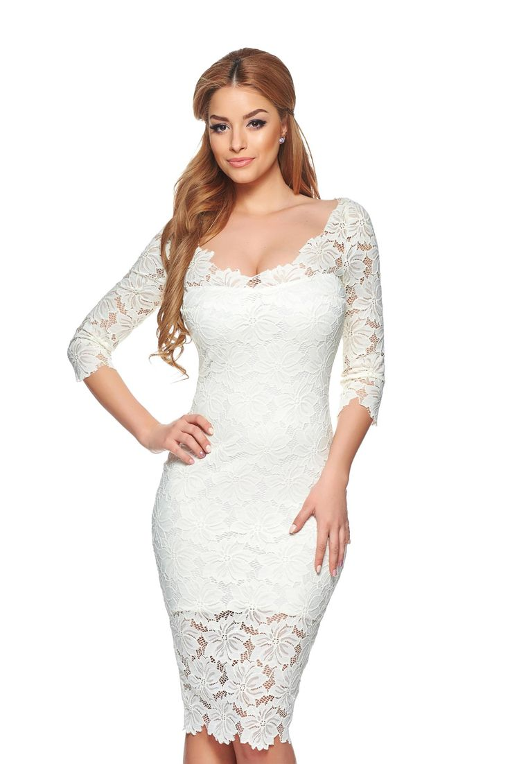StarShinerS Darling White Dress, 3/4 sleeves, back zipper fastening, inside lining, laced fabric, elastic fabric