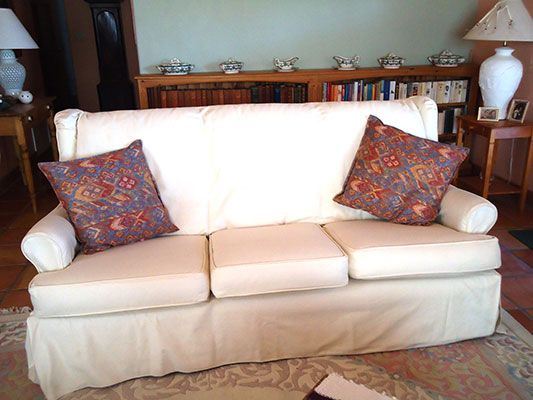White slipcovers  wingback sofa  Slipcover Magic