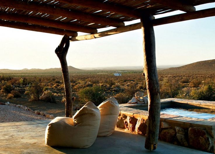 The view from the comfortable beanbags at Waterkop Lodge.