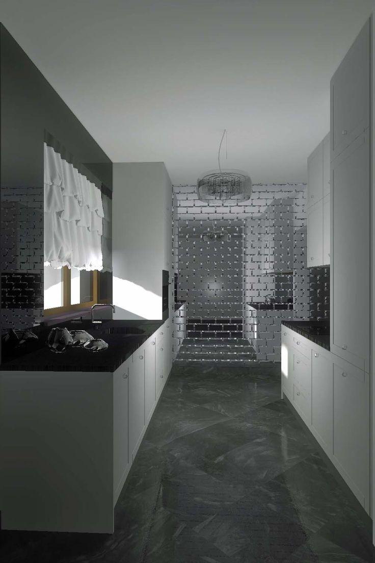 Projekt i aranżacja nowoczesnej kuchni w bieli i czerni, z ciekawą lustrzaną ścianą  z tyłu.
