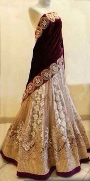 Lovely Voilet And Beige Net Lehenga With Dupatta.