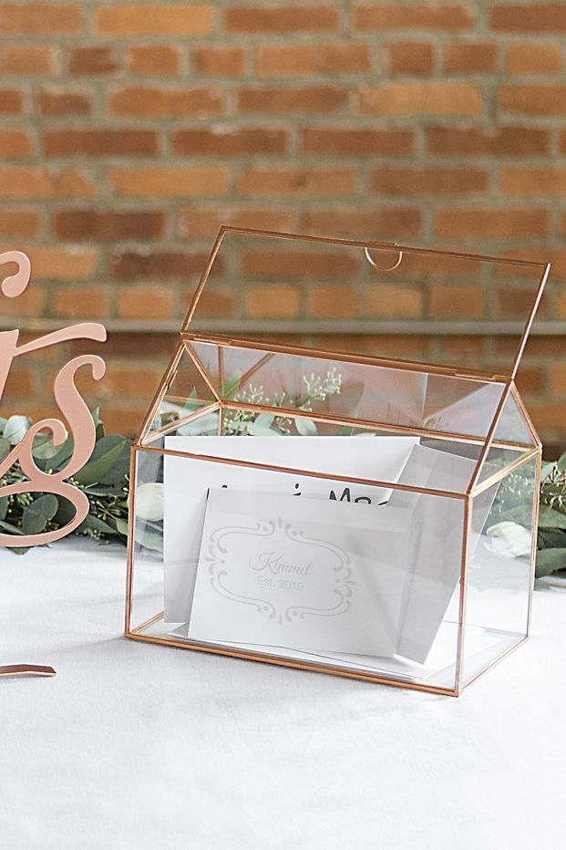 Personalized Glass Terrarium Card Holder Wedding Card Box Card