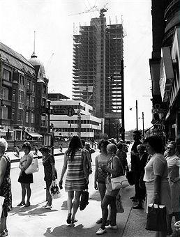 Berlin Steglitzer Kreisel die Baustelle an der Schloss-Strasse 1972