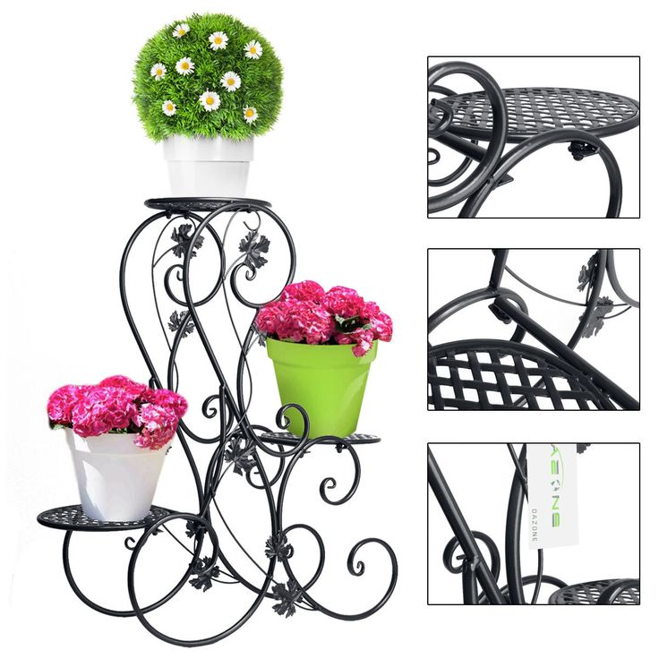 Metal Floor Standing Wrought Iron Pot Plant Stand Flower Planter 8 Style US Sell | eBay