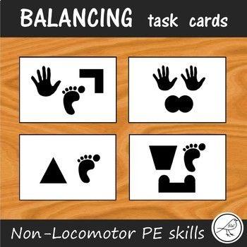 Balancing Task Cards Non Locomotor Skills For Pe Task Cards Skills Cards