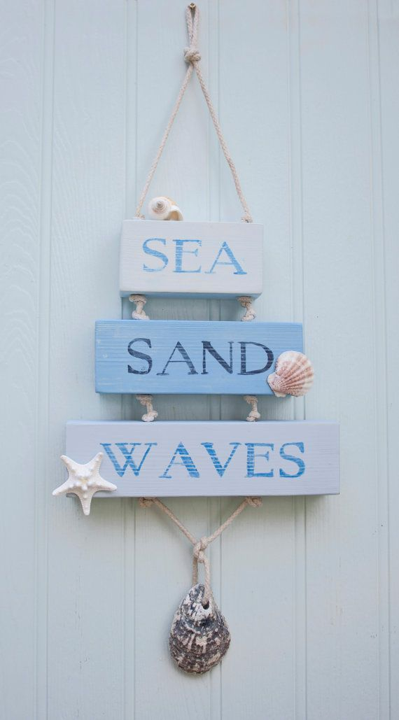 Sea Sand Waves Wooden Sign, Beach Decor, Surfer, Coastal Sign