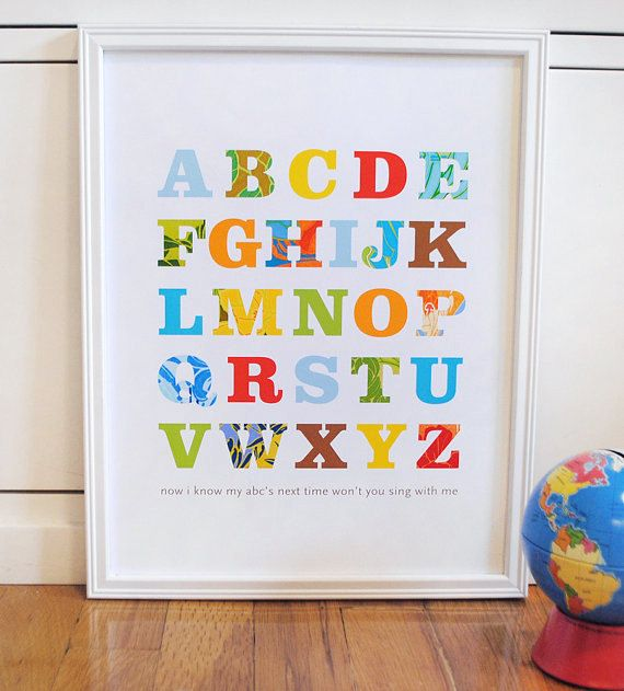 Patterned Alphabet Print Primary Colors modern graphic nursery wall art poster - 11x14. $25.00, via Etsy.