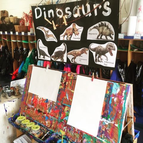 The kids decided to investgate dinosaurs next. I set out a couple areas for them to explore while we finished up our clay inquiry. I create...