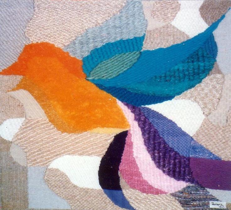 técnica: texturas y punto alfombra con diversos materiales como lana, yute, sisal, etc.