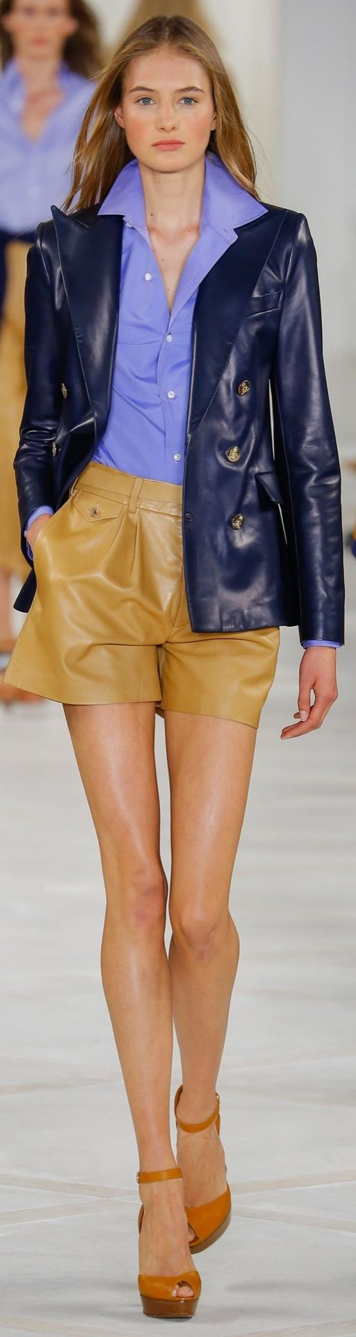 Ralph Lauren Collection Spring 2016: A navy blazer crafted from the finest leather elevates a classically chic ensemble into the realm of true luxury