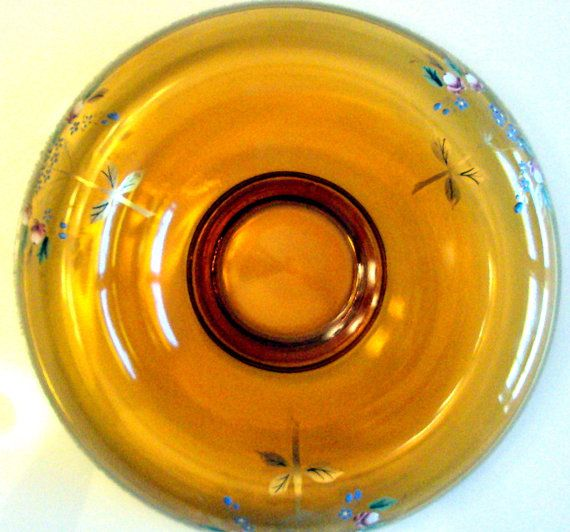 Vintage Bohemian Art Glass Console Bowl, 1930s, Amber Glass,Enameled and Painted Flowers,Rolled Edge, Gold Moriage, Frosted Band, Dining,