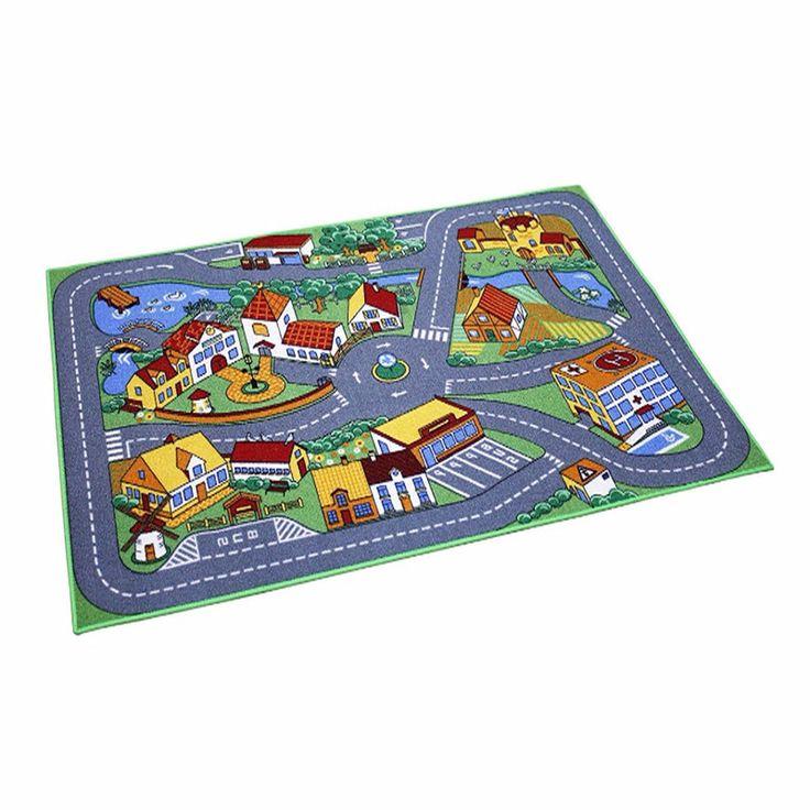Spielteppich Neu Spielmatte 95 x 133 cm Straße Mehrfarbig Teppich Autoteppich