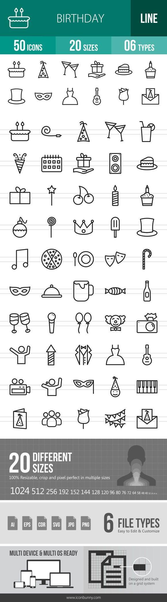 50 Birthday Line Icons