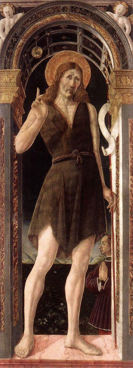 Giovanni Angelo d'Antonio da Bolognola - San Giovanni Battista, dettaglio Polittico di Gualdo Tadino - 1462-1465 - Pinacoteca di Brera, Milano