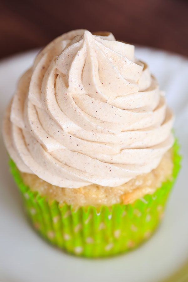Apple Cupcakes with Cinnamon-Cream Cheese Frosting - A perfect way to kick off fall baking! | http://www.browneyedbaker.com/apple-cupcakes-cinnamon-cream-cheese-frosting/