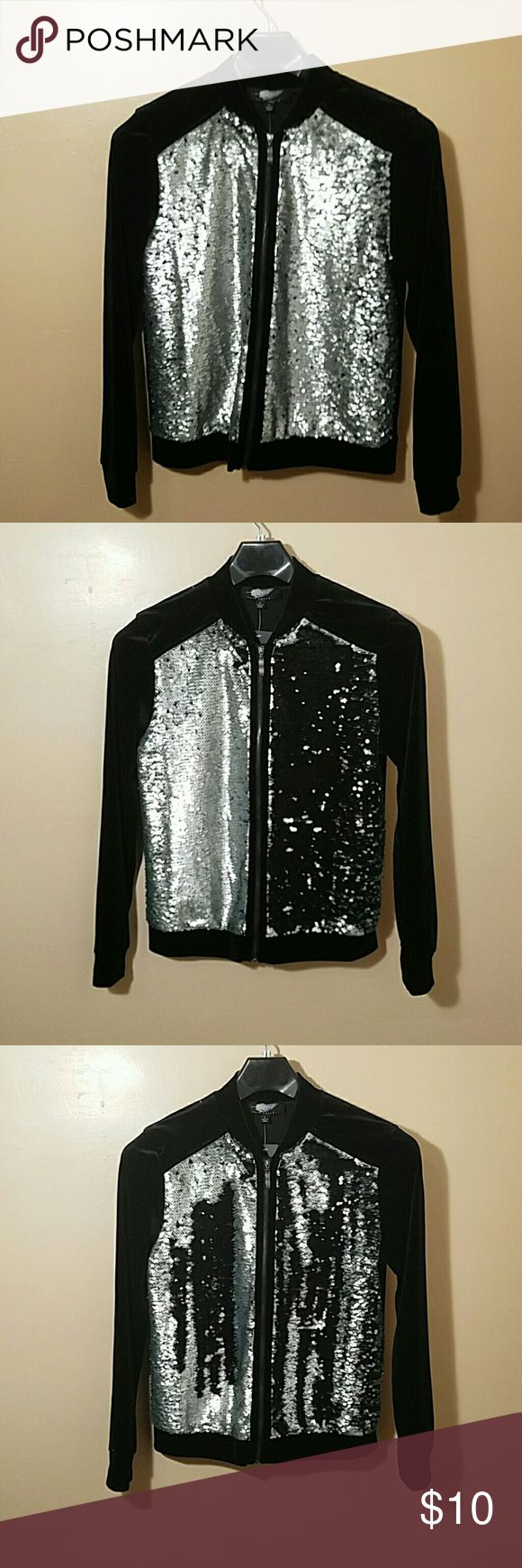 Velour Zip Front Sequined Bomber Jacket New with tag never worn bomber jacket. The jacket is made of 95% polyester and 5% spandex. The brand is Fair Child. Fair Child Jackets & Coats