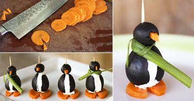 Black Olive Penguins http://www.handimania.com/cooking/black-olive-penguins.html