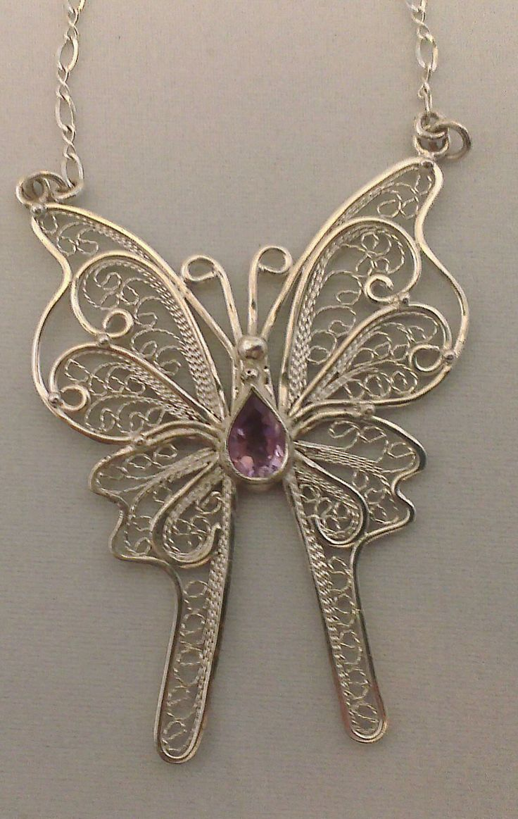 sterling silver handcrafted filigree butterfly necklace