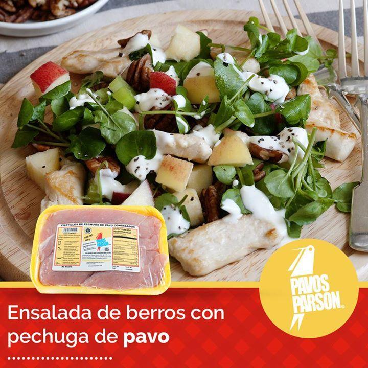 Disfruta en familia una deliciosa ensalada de berros acompañada de Pavos Parson.  #Recetas #Cocina #Ensalada #Berros #pavo